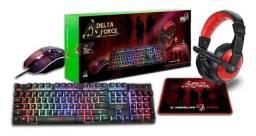 Combo Gamer 4 Em 1 Delta Force ELG Teclado, Mouse, Fone Etc