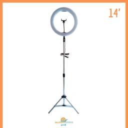 Iluminador Ring Light 14 Polegadas 36cm com Tripé de 2mt e suporte para Celular