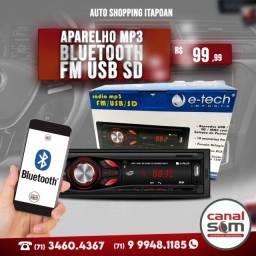 Aparelho Mp3 Bluetooth Fm Usb Sd instalado na Canal Som