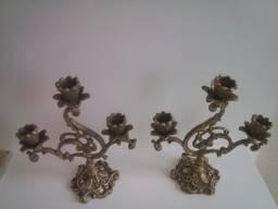 Antigo Par Castiçais 3 Velas em Bronze