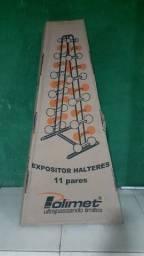 Suporte Expositor para 11 pares de halteres, na caixa - marca Polimet