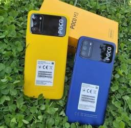 Poco M3 de 4GB + 64GB ou 128GB + Capinha + Pelicula Novos Lacrados