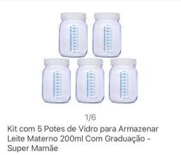 Kit potes para armazenar leite materno