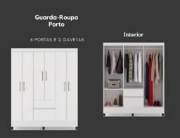 Guarda Roupa Porto 6 Portas 2 gavetas SEM Espelho