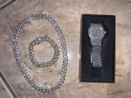 Relógio, Cordão e Pulseira Iced Estilo Hip Hop  Diamante Luxuoso