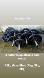 Halteres Ajustáveis com Rosca + 40 Kg De Anilhas (5kg, 4kg, 3kg e 2kg)