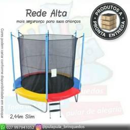 Cama elástica 2,4m - Slim, Rede Preta Alta - A pronta entrega