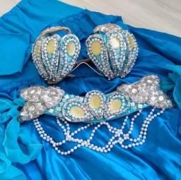 Figurino SoLo ou DuPLA Dança do Ventre Sereia M Azul