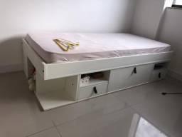 Cama solteiro com gavetas e colchão