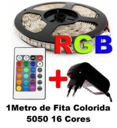 Título do anúncio: KIT 1M Fita de LED Rgb Colorida 5050 1 Metro Controle Remoto e Fonte 12v