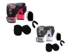 2 Kits Boxe Muay Thai Luva Bandagem Bucal Masculino Brazuca