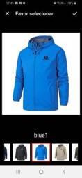 jaqueta esportiva com capuz zíper impermeável salomon