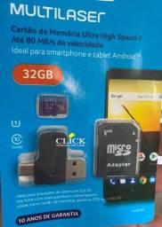 Cartão de memória Classe 10 Multilaser 16, 32 e 64GB, consulte entrega
