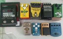 Pedais Pedaleira e Amplificador de Guitarra