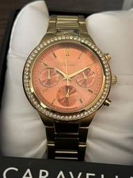 Relógio Feminino Caravelle New York By Bulova Swarovski Crystal Rose - Novo