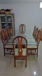 Conjunto de mesa de jantar 8 cadeiras e 2 aparadores buffet