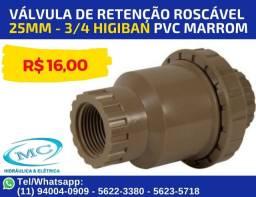 Válvula De Retenção Roscável 25mm - 3/4 Higiban Pvc Marrom