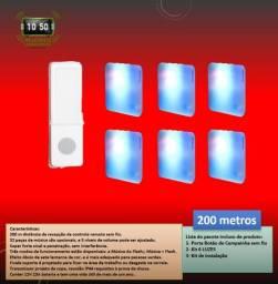 Kit Campainha 6 luzes + 1 controle sem fio / Luzes musico alto 200 metros