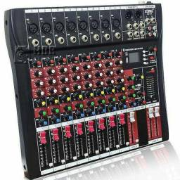 Mesa De Som 8 Canais Balanceados Com Bluetooth, USB, MP3 e Display Digital
