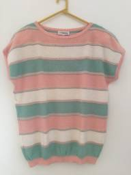 Blusa de Tricot Listrada Rosa e Verde - La Chamade