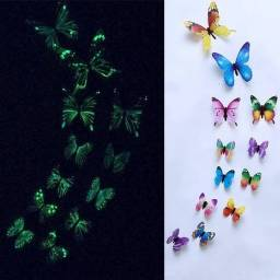 Kit 12x Borboletas Fluorescentes Adesivas Brilham No Escuro