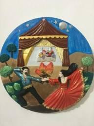 Mandala em gesso povo cigano casal de ciganos cigana e cigana pendurar na parede