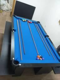 Mesa com 4 Pés | Mesa Preta | Tecido Azul | Modelo: LFHU7670