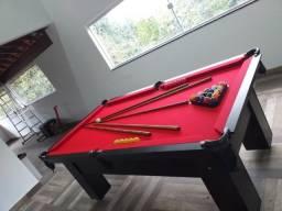 Mesa de Redes Semi Oficial | Mesa Preta | Tecido Vermelho | Modelo: EELE0775