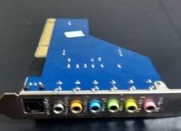 Placa de Som Offboard Pci 7.1 canais e saída óptica