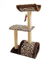 Arranhador 3 Andares Para Gatos Com Cama Toca E Brinquedo