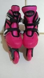 Patins Roller In-line (Rosa) (Ajustável do 33 ao 36) BelSports