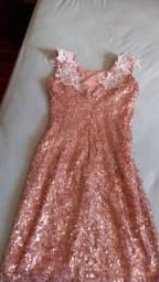 Vestido de Festa de Paetê Nude Rosado