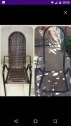 Reforma de cadeiras com fibra