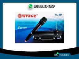 Microfone Duplo De Mão Vhf Vokal Wvngr Sem Fio Wg-005