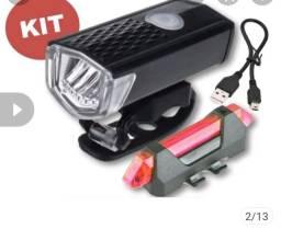 KIT FAROL + SINALIZADOR USB PRA CICLISMO