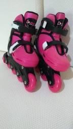 Patins Roller In-line (Rosa) (Ajustável do 29 ao 32) BelSports