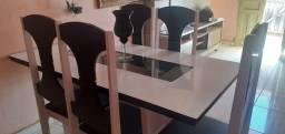 Mesa 6 cadeiras preto e branco