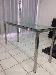 Mesa/Aparador em inox e vidro