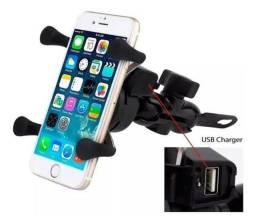 Suporte de celular com tomada carregador USB ENTREGA GRÁTIS