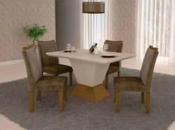 Título do anúncio: Mesa de Jantar com 04 Cadeiras Estofadas. Produto Novo Direto da Fábrica.