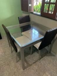 Mesa de Alumínio com 3 cadeiras