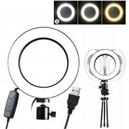 Iluminador Ring Light De Mesa Profissional Com Tripe 6' 16cm