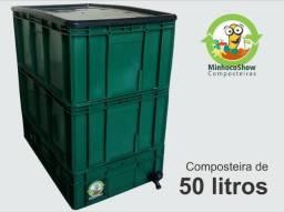 Composteira de 50 litros + Minhocas em até 12vezes