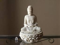 Linda Fonte Decorativa Buda Branca Completa