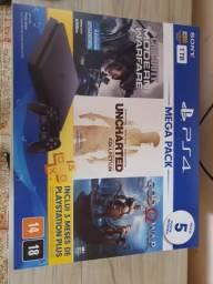 PlayStation 4 PS4 lacrado 12 meses de garantia é nota fiscal 5 jogos