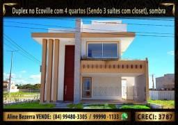 Duplex no Ecoville com 4 quartos sendo 3 suítes com closet, sombra e 208m² de construção