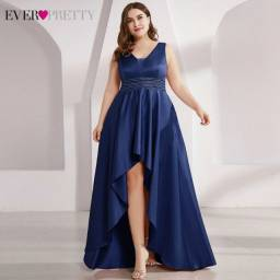 Atualizado 16/11/2020 Plus Size Cetim Vestidos De Baile Duplo V-Neck