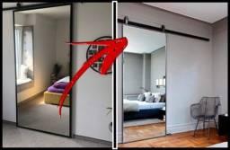 porta de correr feita em Blindex + Espelho embutido