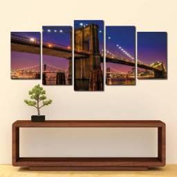 Quadro Decorativo Ponte do Brooklyn - Promoção! - Mosaico 5 peças