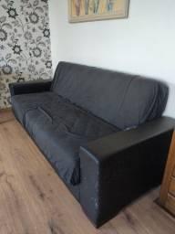 Sofá cama em courino preto